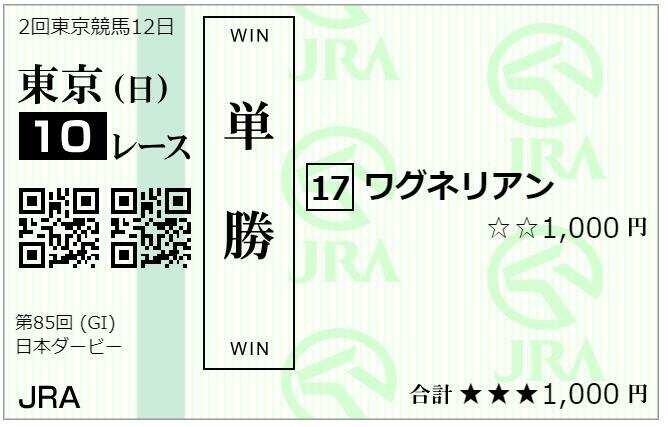 日本ダービー、購入馬券・単勝ワグネリアン