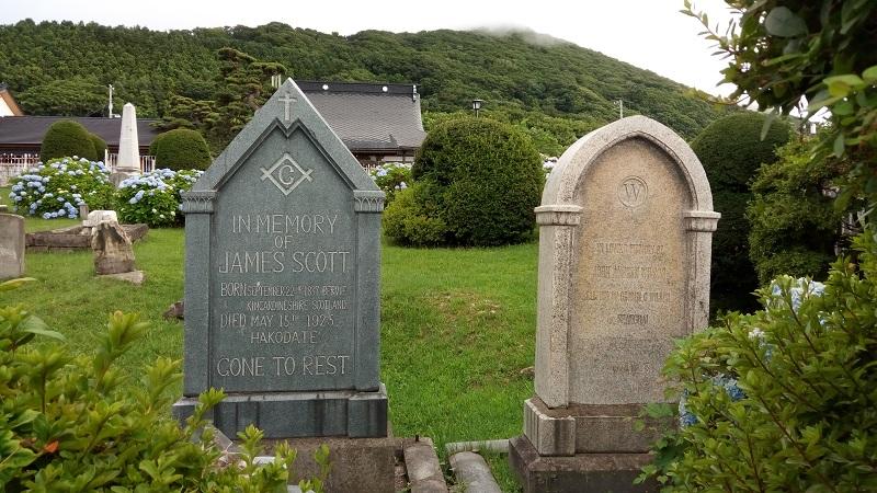 外国人墓地でメーソンリーを発見