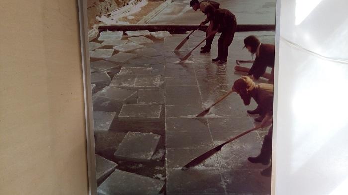 阿左美冷蔵で氷を作っている風景