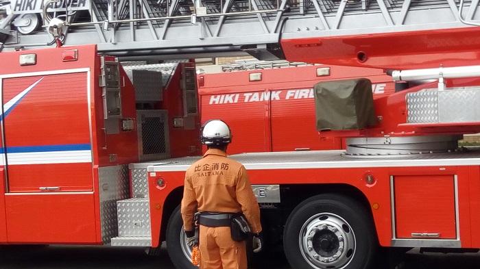 防災訓練で来てくれた消防車が動き始め段々色々と開く