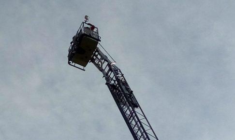 防災訓練で来てくれた消防車、ういーん!と上まで行ってた!