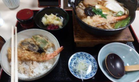 木村屋(贅沢鍋焼きうどん、天丼付き)でランチパスポートメニューを食べた