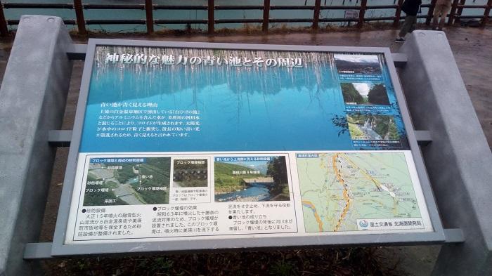 青の池、案内板