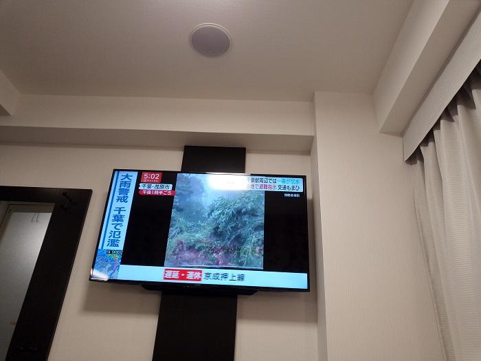 アパホテルのシングルタイプの大型テレビ