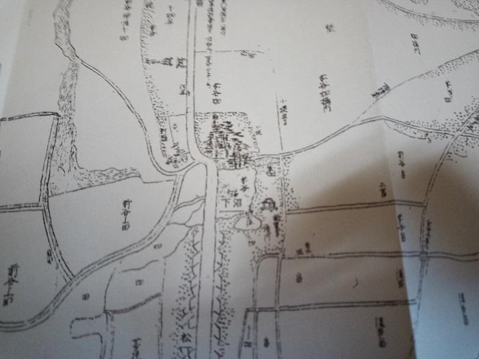 東松山の今昔あれこれに掲載をされていた1700年代の地図(下沼周辺)