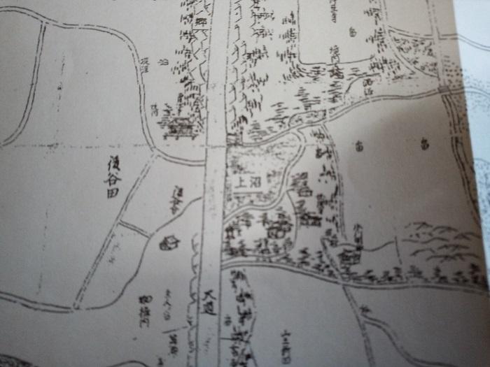 東松山の今昔あれこれに掲載をされていた1700年代の地図(上沼周辺)
